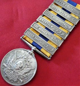 BRITISH EGYPTIAN ARMY KHEDIVES SUDAN MEDAL WITH 6 CAMPAIGN BARS
