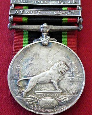 RARE BRITISH EGYPTIAN ARMY KHEDIVES SUDAN MEDAL 1910 - 1921 1ST ISSUE 2 BARS ALIAB DINKA & ATWOT