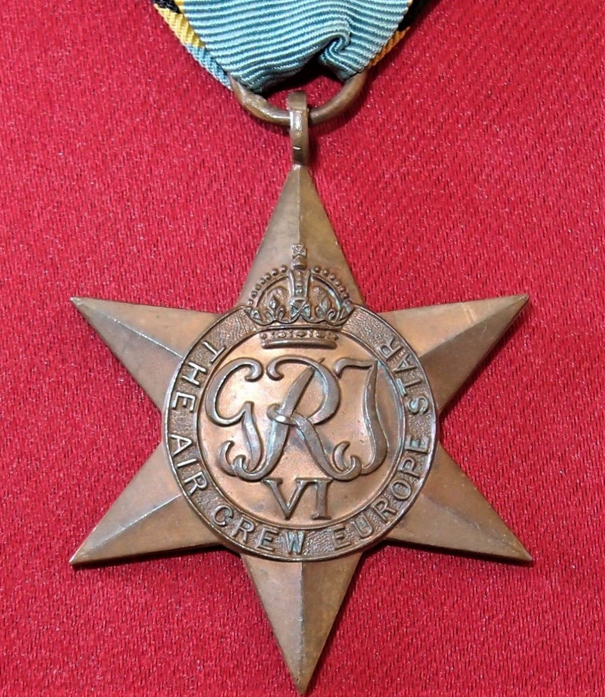 WW2 AIR CREW EUROPE STAR MEDAL 100% ORIGINAL ANZAC RAAF RAF BOMBER COMMAND
