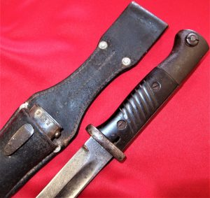 WW2 GERMAN ARMY K98 BAYONET SCABBARD & FROG MATCHING E & F HORSTER SOLINGEN 1939