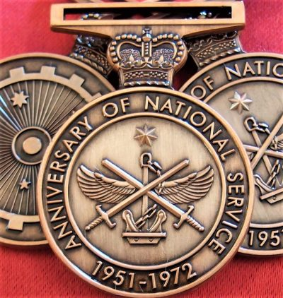 *10* x AUSTRALIAN ANNIVERSARY OF NATIONAL SERVICE MEDAL REPLICA 1951 - 1972