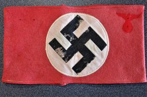 WW2 GERMAN N.S.D.A.P. S.A. ARM BAND BEVO WOVEN ON WOOL