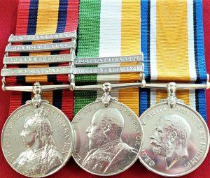 BRITISH QUEEN'S KINGS SOUTH AFRICA BOER & RFC FIRST WAR SERVICE MEDALS DEELEY