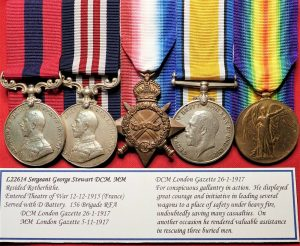 WW1 BRITISH ARMY DCM & MM TRIO MEDAL GROUP TO 22614 SGT STEWART FIELD ARTILLERY