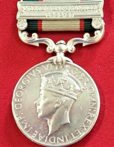 1936-39 BRITISH INDIA GENERAL SERVICE MEDAL WW2 AFGHANISTAN 1st PUNJAB REGIMENT