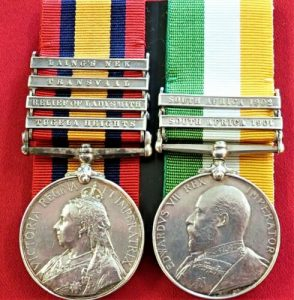 BRITISH QUEENS & KINGS SOUTH AFRICA BOER WAR SERVICE MEDALS SCOTTISH RIFLES 1625 LAWSON
