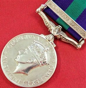 POST WW2 GENERAL SERVICE MEDAL 1918-62 PALESTINE 1945-48 ROYAL ENGINEERS OFFICER