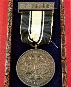 WW2 CASED SOUTHERN RAILWAY ST JOHN AMBULANCE ASSOCIATION SERVICE MEDAL 7 YEARS