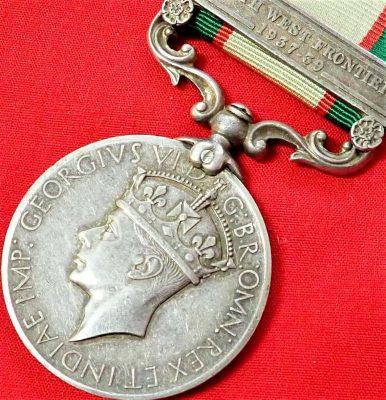 1936-39 BRITISH INDIA SERVICE MEDAL WW2 AFGHANISTAN 2nd PUNJAB REGIMENT