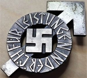 GERMANY HITLER YOUTH PROFICIENCY BADGE IN SILVER #31687 BY KARL WURSTER OF MARKNEUKIRCHEN