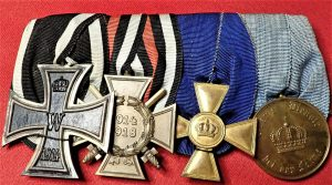 WW1 GERMANY 4 PLACE MEDAL BAR INCLUDING IRON CROSS FOR OFFICER