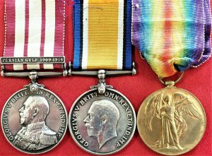 WW1 MEDAL TRIO ROYAL NAVAL MARINE LIGHT INFANTRY SCARRATT NGSM PERSIAN GULF
