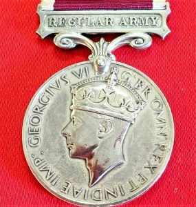 WW2 BRITISH ARMY LONG SERVICE & GOOD CONDUCT MEDAL AWARD SOUTH WALES BORDERERS