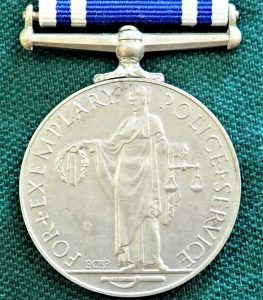 +WW2 BRITISH POLICE LONG SERVICE & GOOD CONDUCT MEDAL AWARD HARRY SHIPP 1949-52