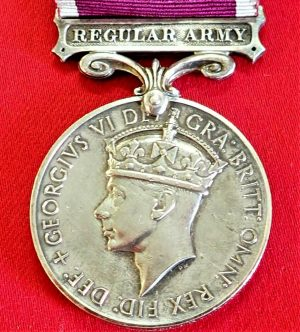 +WW2 BRITISH REGULAR ARMY LONG SERVICE & GOOD CONDUCT MEDAL AWARD HAMLIN 1949-52