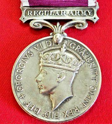 +WW2 BRITISH REGULAR ARMY LONG SERVICE & GOOD CONDUCT MEDAL AWARD HAMLIN 1949-52