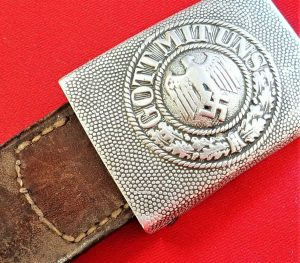 WW2 GERMAN ARMY ALUMINIUM BELT BUCKLE & LEATHER TAB BY RICHARD SIEPER & SON