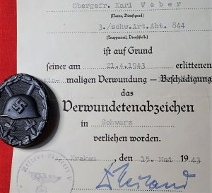 WW2 GERMAN ARMY WOUND BADGE IN BLACK & AWARD DOCUMENT 1943 DATED