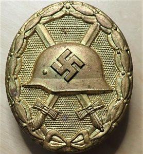 WW2 GERMAN WOUND BADGE IN GOLD BY FRIEDRICH ORTH OF VIENNA
