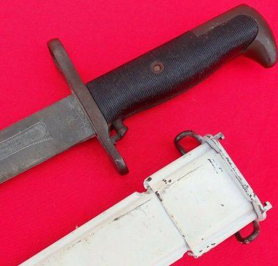 WW2 US M1 GARAND KNIFE BAYONET BY PAL NAMED DRESS WHITE SCABBARD KENNISON