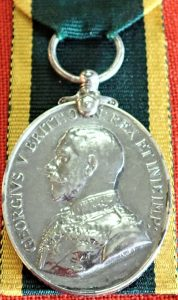 BRITISH ARMY TERRITORIAL EFFICIENCY MEDAL CHADWICK ROYAL ARTILLERY WW1 SERVICE