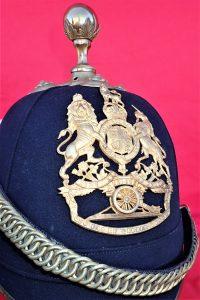 ID'D WW1 BRITISH ARMY ARTILLERY BLUE CLOTH HOME SERVICE HELMET & CARRY CASE