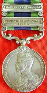 INDIA GENERAL SERVICE MEDAL, 2 CLASPS AFGHANISTAN 1919 & WAZIRISTAN 1921-24 13TH LANCERS