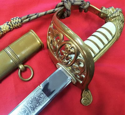 MINT PRE WW2 ERA 1882 DUTCH NAVY OFFICERS ETCHED SWORD WITH SCABBARD & KNOT