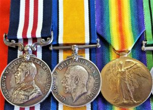 WW1 BRITISH ARMY 1918 MICHAEL OFFENSIVE MILITARY MEDAL GROUP WOUNDED IN ACTION 138464 GNR CARTER