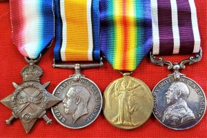 WW1 BRITISH ARMY MERITORIOUS SERVICE MEDAL GROUP OF 4 S4-091310 CPL E.M.ATKINSON