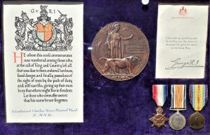 WW1 British Navy 'Died of Illness' framed 1915 medal trio, Memorial Plaque, condolence certificate and slip to Lieutenant C.H.P. Wood. R.N.V.R. 1914-15 Star trio; Memorial plaque, named CHARLES HORACE PERCIVAL WOOD; Condolence Certificate and slip, named Lieutenant Charles Horace Percival Wood. R.N.V.R. All mounted in period wood and glass frame by Spink & Son LTD MEDALIST. LONDON.W. Comes with copies service records, medal roll and basic research. Charles Horace Perceval Wood was born in 1884. Sub Lieutenant (Temporary) Motor boat reserve. Served on Drifters and then in 1916 1916 to Motor Launches: ML 102, ML227, ML 445. Died 1st April 1917, war related illness. A lovely display piece of original period framed officers' medals. Frame measures 50cm x 33cm x 8cm.