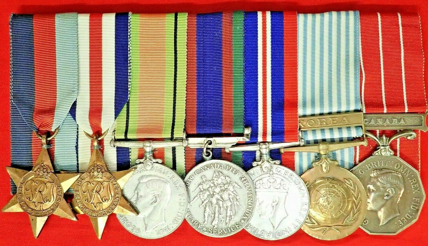WW2 & KOREA ROYAL CANADIAN ENGINEERS GROUP OF 7 MEDALS TO SF 25369 MOSHER