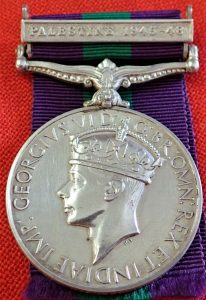 PALESTINE POLICE BRITISH GENERAL SERVICE MEDAL 1945-48 1735 CONSTABLE BELL