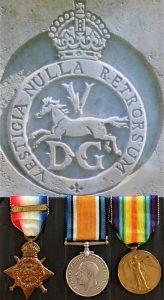WW1 BRITISH ARMY OLD CONTEMPTABLE 1914 STAR CLASP TRIO SELMAN 5TH DRAGOON GUARDS
