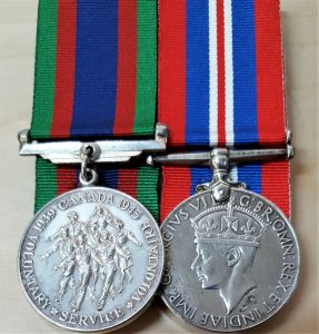 WW2 CANADIAN OVERSEAS SERVICE MEDAL MOUNTED PAIR SILVER TYPE