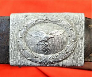 WW2 GERMAN AIR FORCE LUFTWAFFE UNIFORM BELT & BUCKLE 1937 BY DRANSFELD & CO MENDENYW
