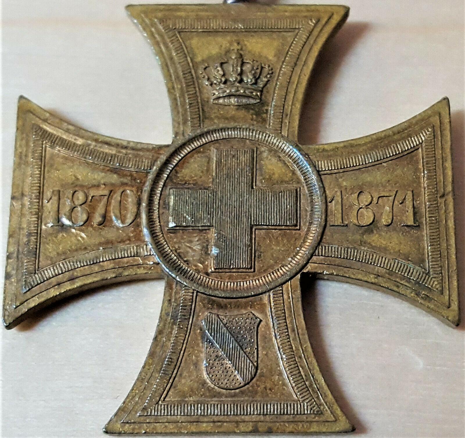 PRE WW1 GERMANY KINGDOM OF BADEN WAR HELPER VOLUNTARY RELIEF WORK CROSS MEDAL