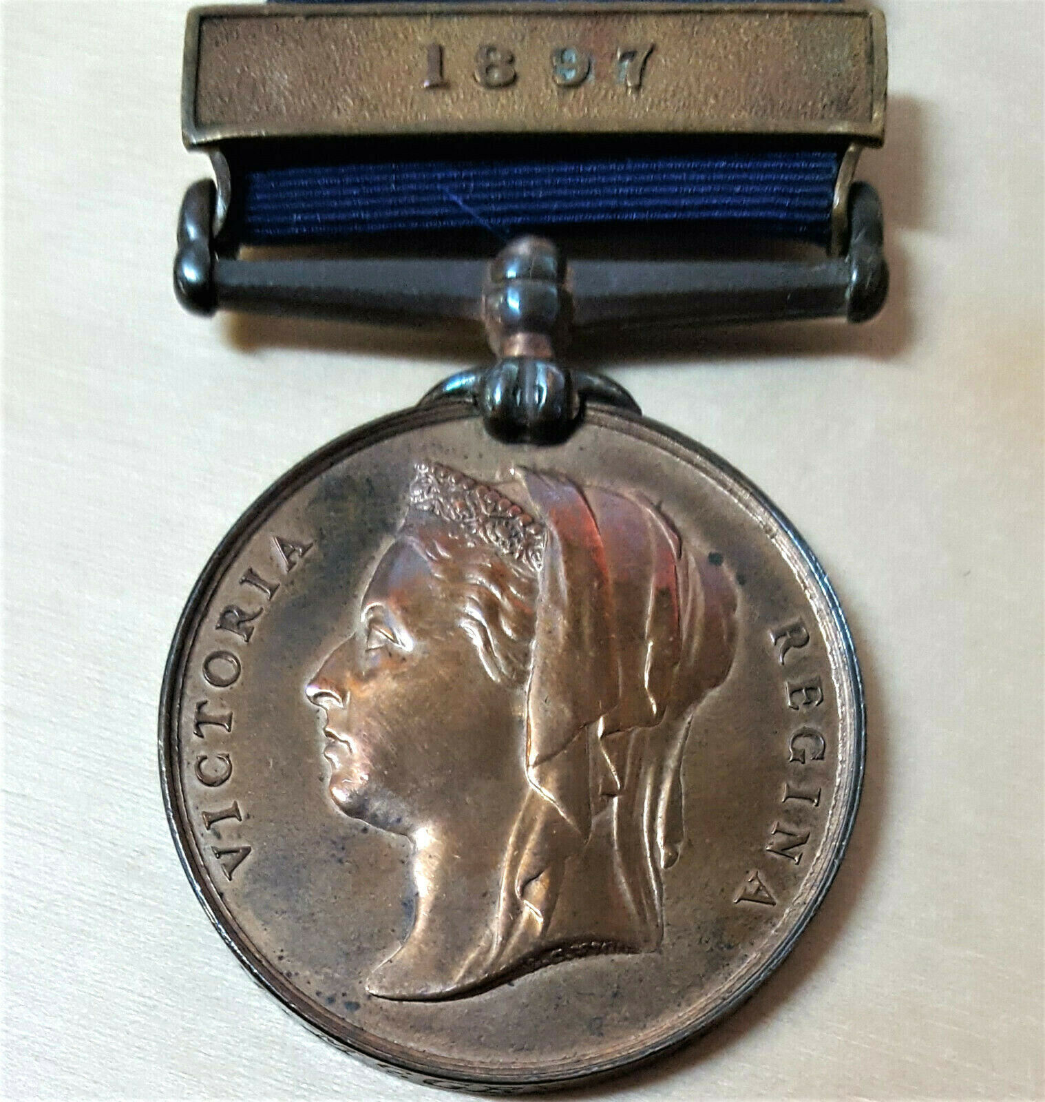 RARE PRE WW1 BRITISH METROPLOITAN POLICE 1887 JUBILEE MEDAL WITH 1897 CLASP