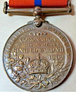 RARE PRE WW1 BRITISH METROPLOITAN POLICE 1902 CORONATION MEDAL P C WEBB 'D' DIV.