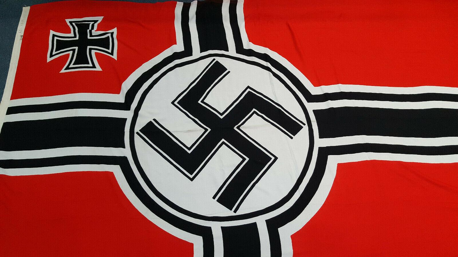 SCARCE LARGE WW2 GERMAN KRIEGSMARINE NAVAL BATTLE FLAG 3 METRES LOH MARKED