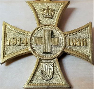 WW1 GERMANY KINGDOM OF BADEN WAR HELPER VOLUNTARY RELIEF WORK CROSS MEDAL 1914