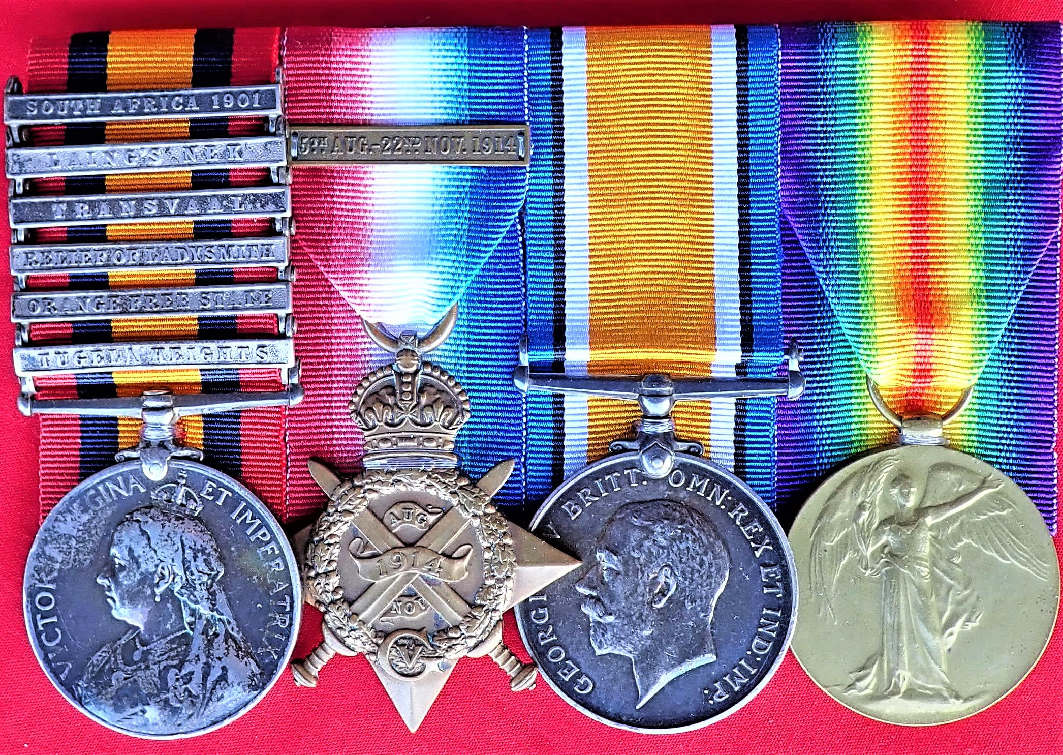 BOER WAR & WW1 MEDAL GROUP WOUNDED LADYSMITH EX SEAMAN JOHNS DEVONSHIRE & WEST YORKSHIRE REGIMENT