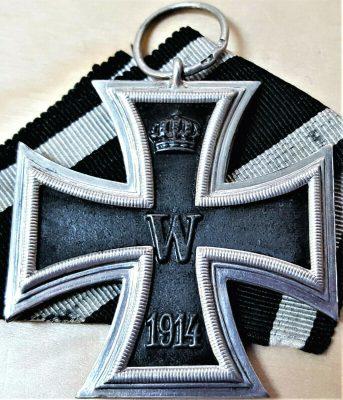 RARE .800 SILVER CARL DILLENIUS WW1 GERMANY IRON CROSS 2ND CLASS MEDAL