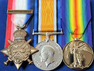 WW1 BRITISH MONS 1914 COMMONWEALTH MOUNTED MEDAL TRIO WITH CLASP GROUP REPLICA