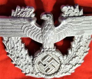 RARE WW2 GERMAN POLICE UNIFROM CHILDREN'S KEPI LARGE CAP BADGE BY FRIEDRICH LINDEN