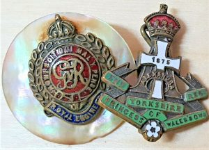 WW1 ERA BRITISH ARMY SWEET HEART BADGES ENGINEERS & YORKSHIRE REGIMENT