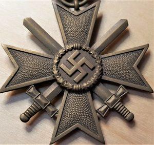 WW2 NAZI GERMANY WAR MERIT CROSS WITH SWORDS MEDAL #133 BY OTTO SCHICKLE, PFORZHEIM