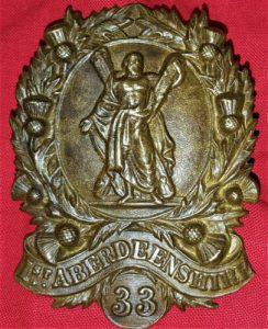 PRE WW1 ERA BRITISH ARMY ABERDEENSHIRE RIFLE VOLUNTEERS UNIFORM SHAKO CAP BADGE