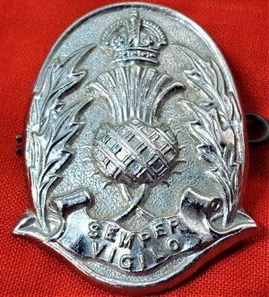 WW2 ERA SCOTTISH CONSTABULARY POLICE UNIFORM CAP BADGE ANTIQUE
