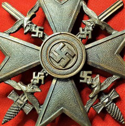 PRE WW2 GERMAN SPANISH CIVIL WAR LEGION CONDOR BADGE IN BRONZE BY C E JUNKER OF BERLIN